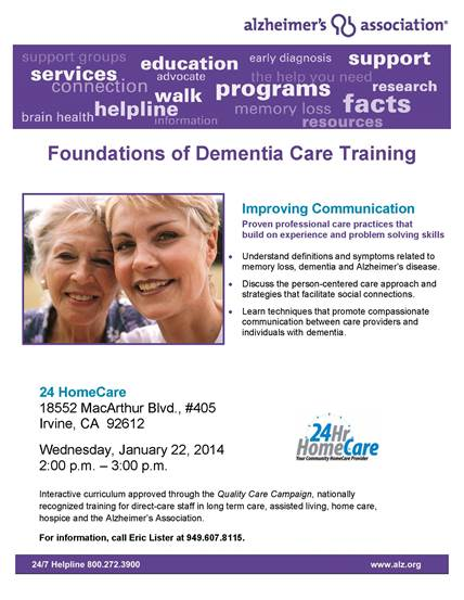 24 Hour Home Care Caregivers To Receive Dementia Care Training from the Alzheimer's Association