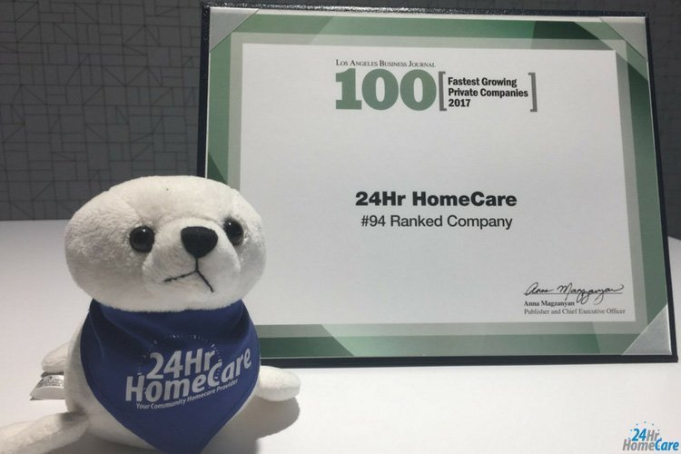24 Hour Home Care Recognized in LA Business Journal's 100 Fastest Growing Private Companies List for 5th Consecutive Year