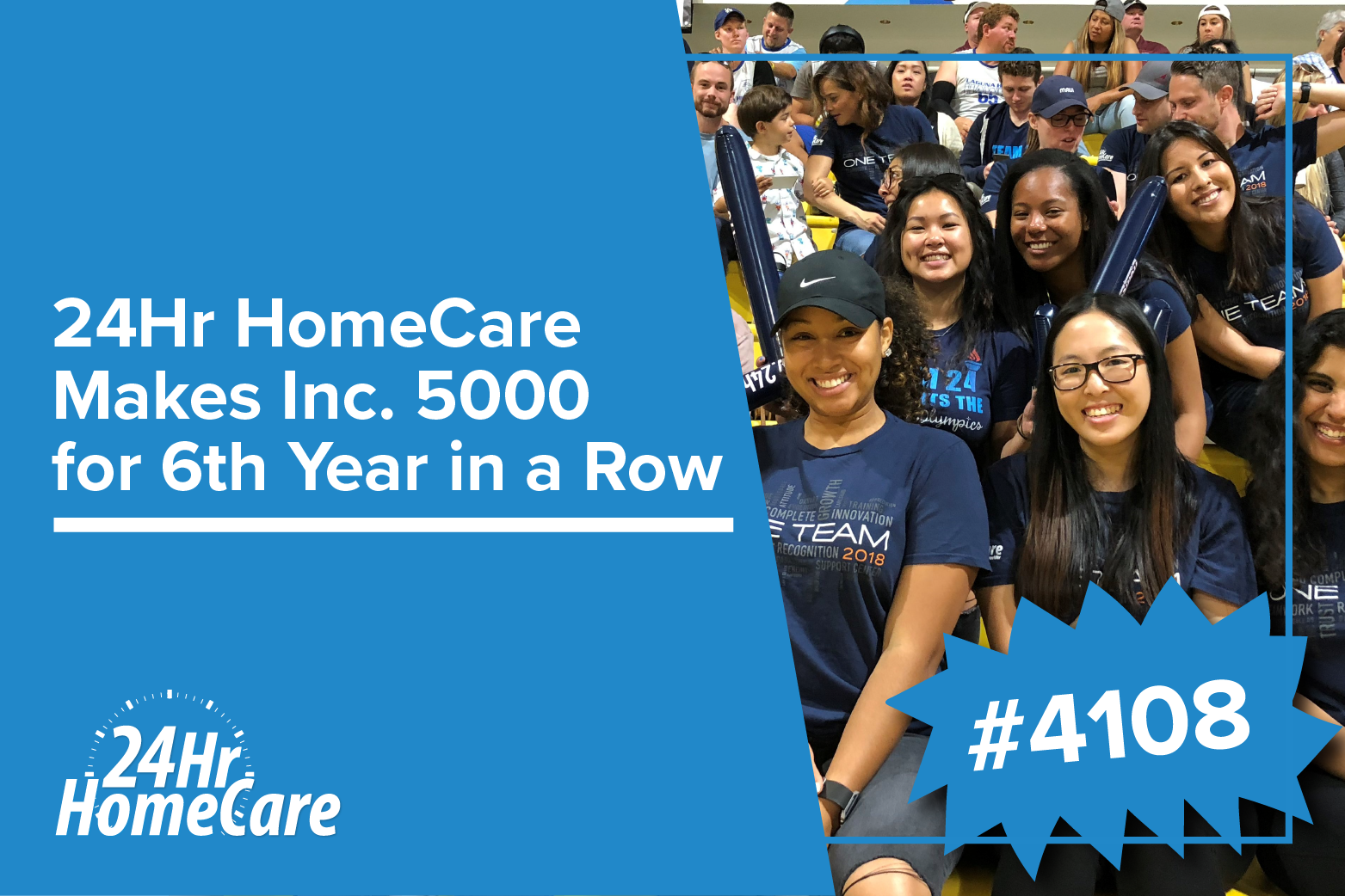 24 Hour Home Care Named to Inc. Magazine's List of America's Fastest-Growing Private Companies for the Sixth Consecutive Year