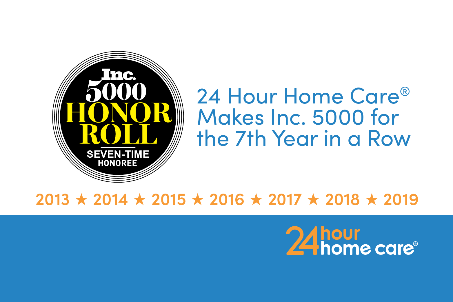 24 Hour Home Care® Ranks on the Inc. 5000 List for  the Seventh Year in a Row